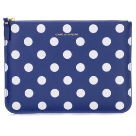 Comme Des Garçons Wallets rectangular navy blue clutch with white polka dots