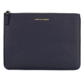 Comme des Garçons Wallet pouch in navy blue leather