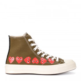 Comme des Garçons Play x Converse sneakers in khaki color with hearts