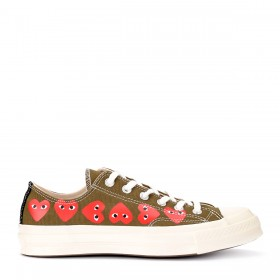 Comme des Garçons Play x Converse khaki sneakers with hearts