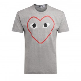 Comme Des Garçons PLAY men's t-shirt made of gray cotton with an empty heart