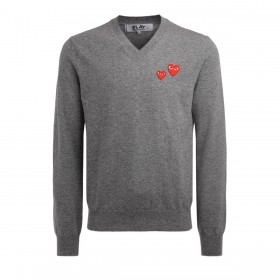 Comme Des Garçons PLAY men' sweater with gray V-neck with red mini hearts