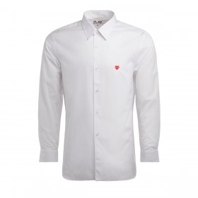 Comme Des Garcons PLAY men' shirt in white cotton with mini heart