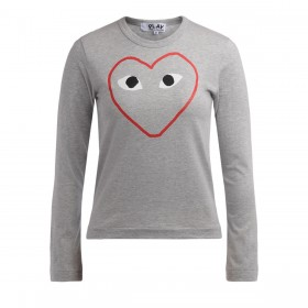Comme Des Garçons PLAY women's grey t-shirt with long sleeve and empty heart