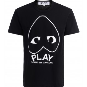 Comme Des Garçons PLAY T-Shirt in black cotton with large heart