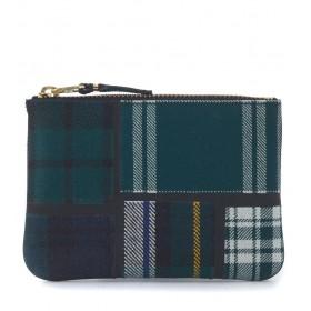 Comme des Garçons green tartan patchwork wool wallet