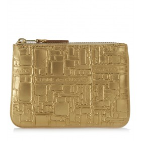 Wallet Comme des Garçons golden leather with pattern