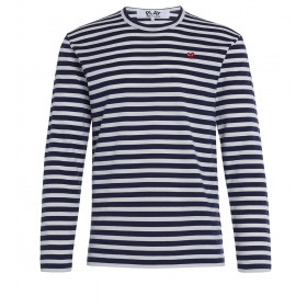 Play by Comme de Garcon sweater with blue and white straps