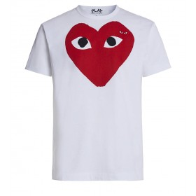 White T-shirt Play by Comme de Garcon with red heart and black eyes