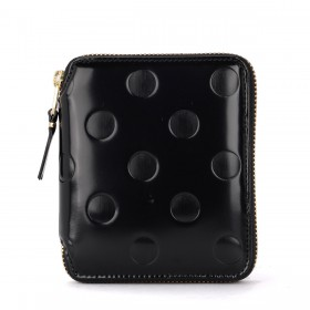 Comme Des Garçons Wallet black shiny printed leather wallet