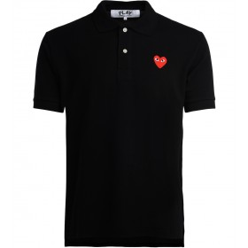 Comme Des Garcons PLAY men's black polo with red heart