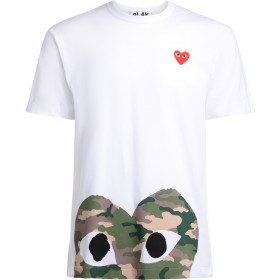Comme Des Garçons PLAY men's white t-shirt with camouflage heart