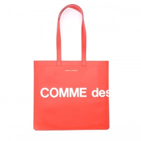 Comme Des Garçons Wallet Huge Logo Shopping Bag in red leather