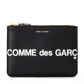 Comme Des Garçons Wallet Huge Logo Sachet in black leather