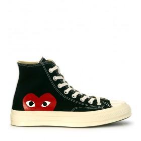 Sneaker Comme des Garçons Play x Converse alte in canvas nero
