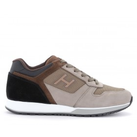 Hogan H321 sneakers in brown leather and mesh