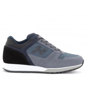 Hogan H321 sneakers in blue and light blue leather and fabric