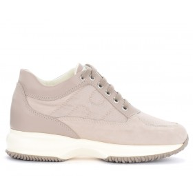 Hogan Interactive sneakers in beige leather and fabric