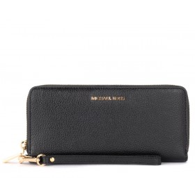 Michael Kors Continental model wristlet in black grained leather