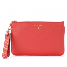 Michael Kors red pebbled leather pochette