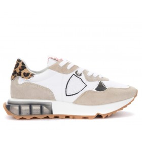Philippe Model La Rue sneakers in white and beige with animal print details