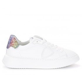Philippe Model Temple sneakers in white leather and glitter
