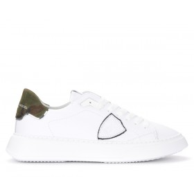 Philippe Model Temple sneakers in white leather and camouflage print