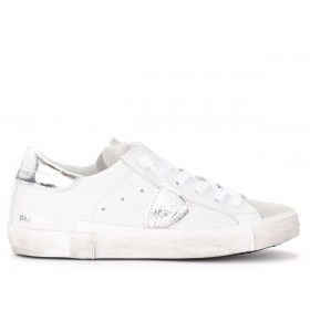 White and silver Philippe Model Paris X sneakers