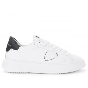Philippe Model Temple white leather sneakers with black and silver spoiler
