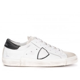 Philippe Model Paris X sneaker in white leather with black spoiler