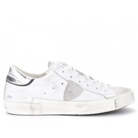 Philippe Model Paris X sneaker in white leather with silver spoiler
