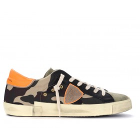 Philippe Model Paris X trainer in camouflage fabric with fluorescent spoiler