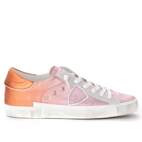 Philippe Model Paris X trainer in pink and orange laminated leather