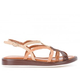 Pons Quintana Anais model sandal in woven brown and tan leather