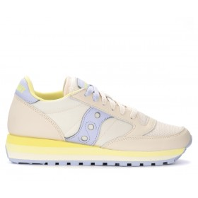 Saucony Jazz Triple trainer in beige and silver leather with yellow details