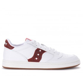 Saucony Jazz Court white sneakers with red logo