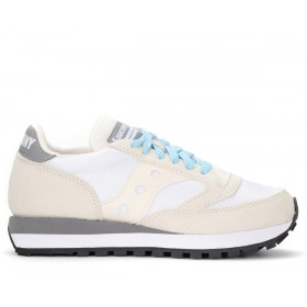Saucony Jazz 81 trainer in white and grey suede and fabric