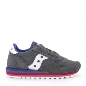 Saucony Jazz O' Rainbow grey and white suede and nylon sneaker