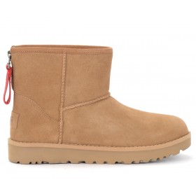UGG Classic Mini Zip Logo Ankle boot in brown leather