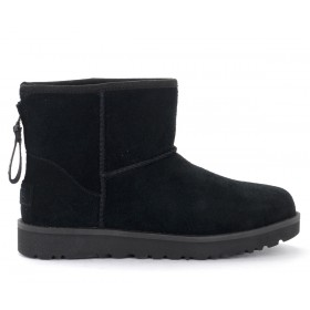 UGG Classic Mini Zip Logo ankle boot in black suede