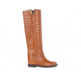 Via Roma 15 boot in brown leather with crocodile print