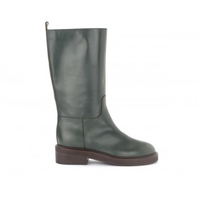 Via Roma 15 boots in olive coloured leather