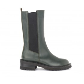 Via Roma 15 high boots in olive-coloured leather