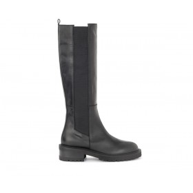 Via Roma 15 boots in black leather with elastic strap