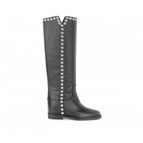 Via Roma15 boot in black leather with macro studs