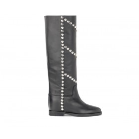 Via Roma 15 boot in black leather with front and side studs