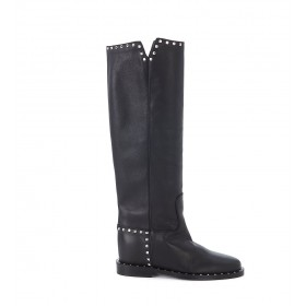 Via Roma 15 black leather boots with studs