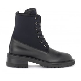 Via Roma 15 boots in black leather and neoprene