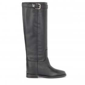 Via Roma 15 boot in black leather with logo strap