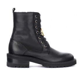 Via Roma 15 boots in black leather with logo pendant